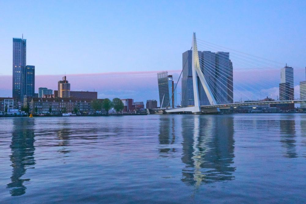 オランダのロッテルダムにあるエラスムス橋の遠景