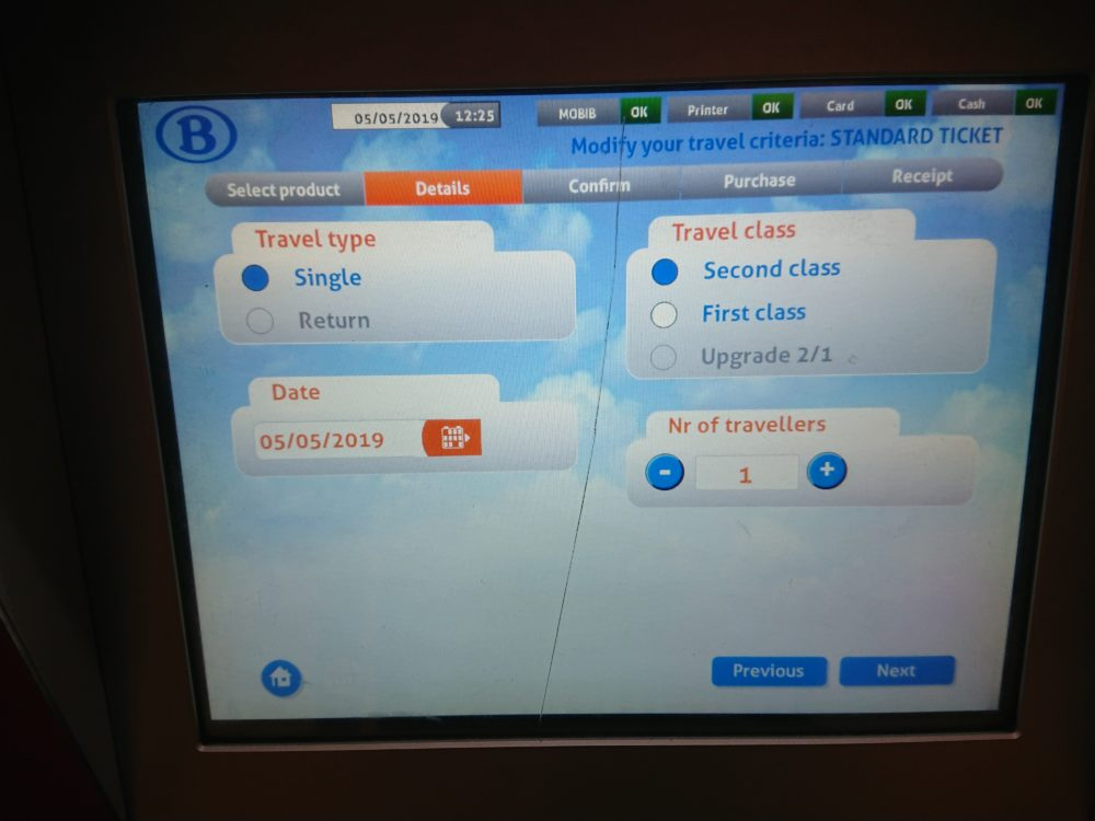 ベルギー鉄道券売機の詳細画面