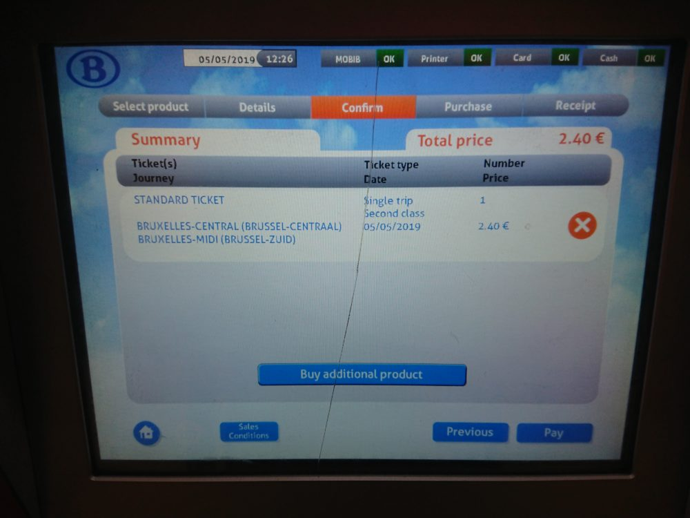 ベルギー鉄道券売機の確認画面