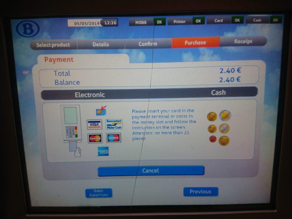 ベルギー鉄道券売機の支払い画面