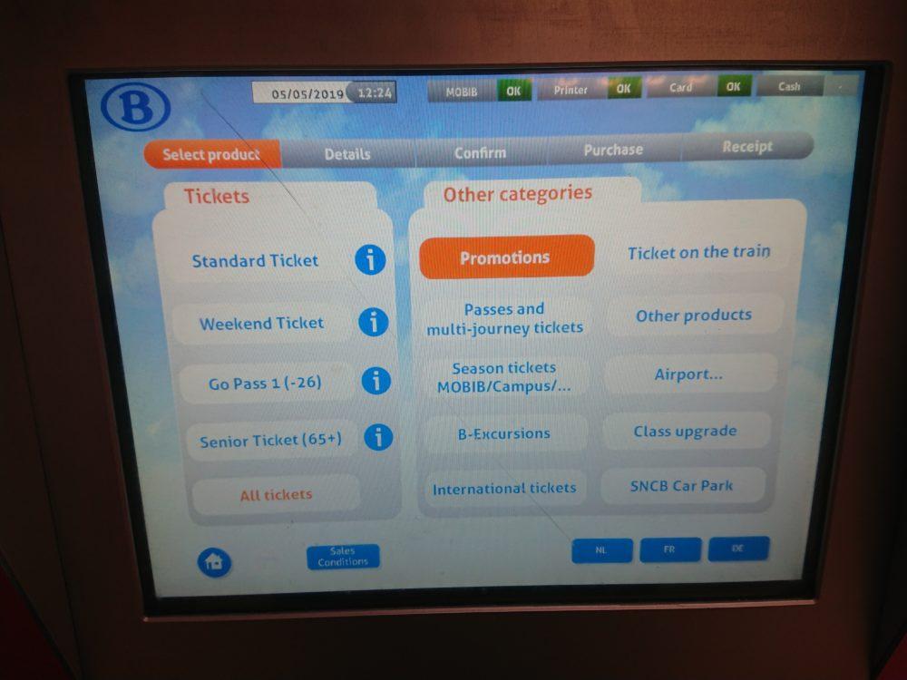 ベルギー鉄道券売機の券種選択画面