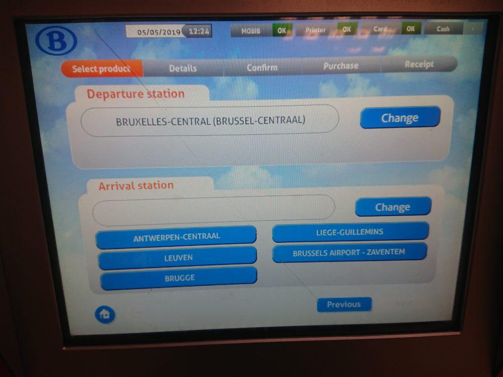 ベルギー鉄道券売機のルート選択