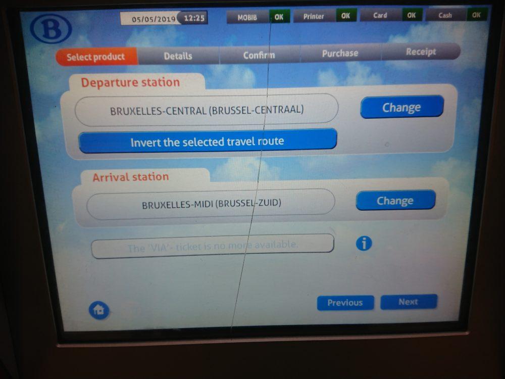 ベルギー鉄道券売機の選択した駅