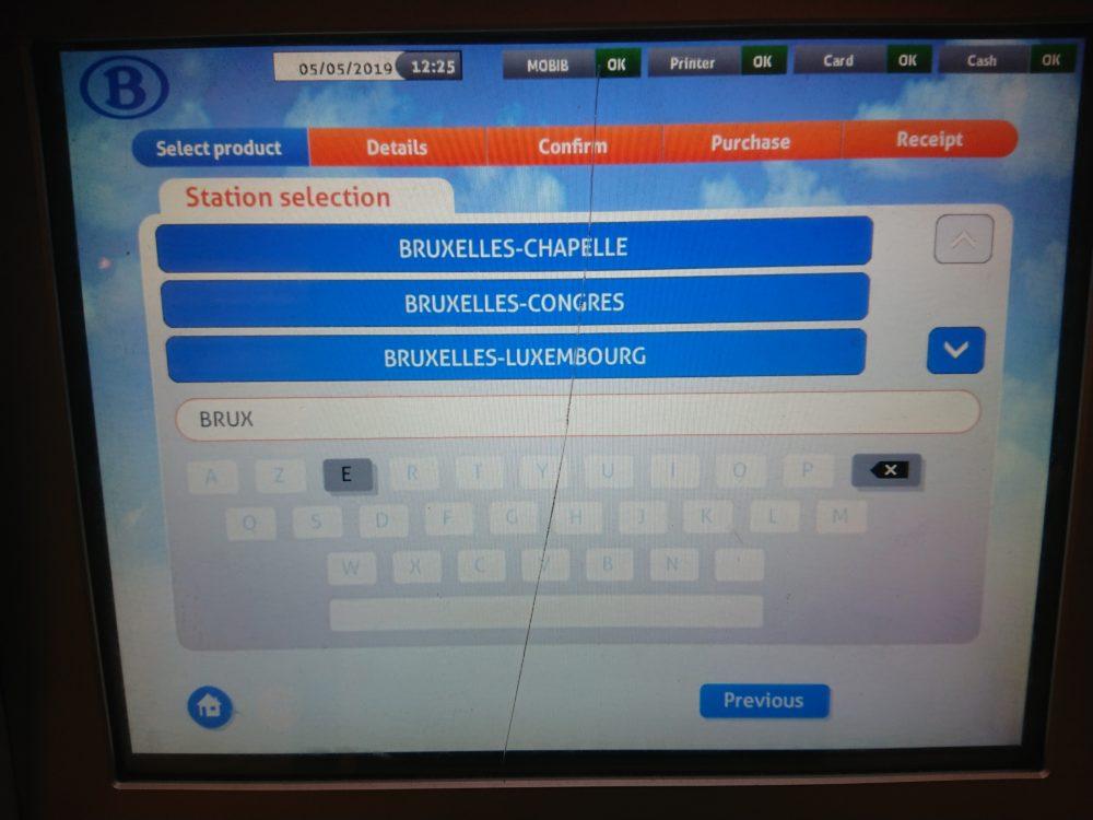 ベルギー鉄道券売機での駅選択画面