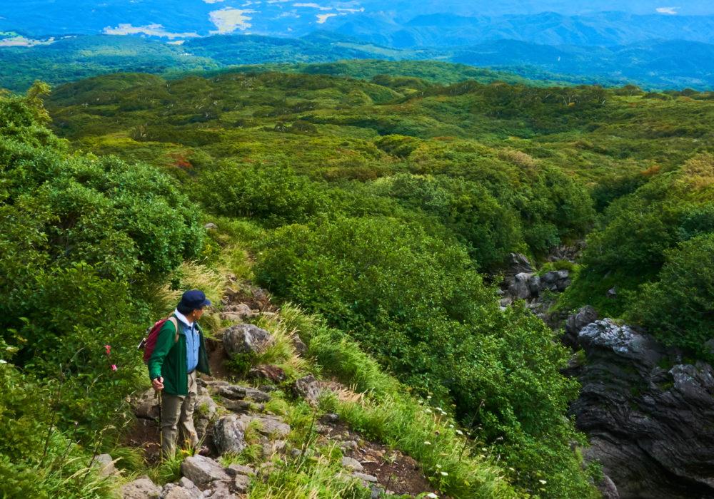 鳥海山では振り返ると素晴らしい景色