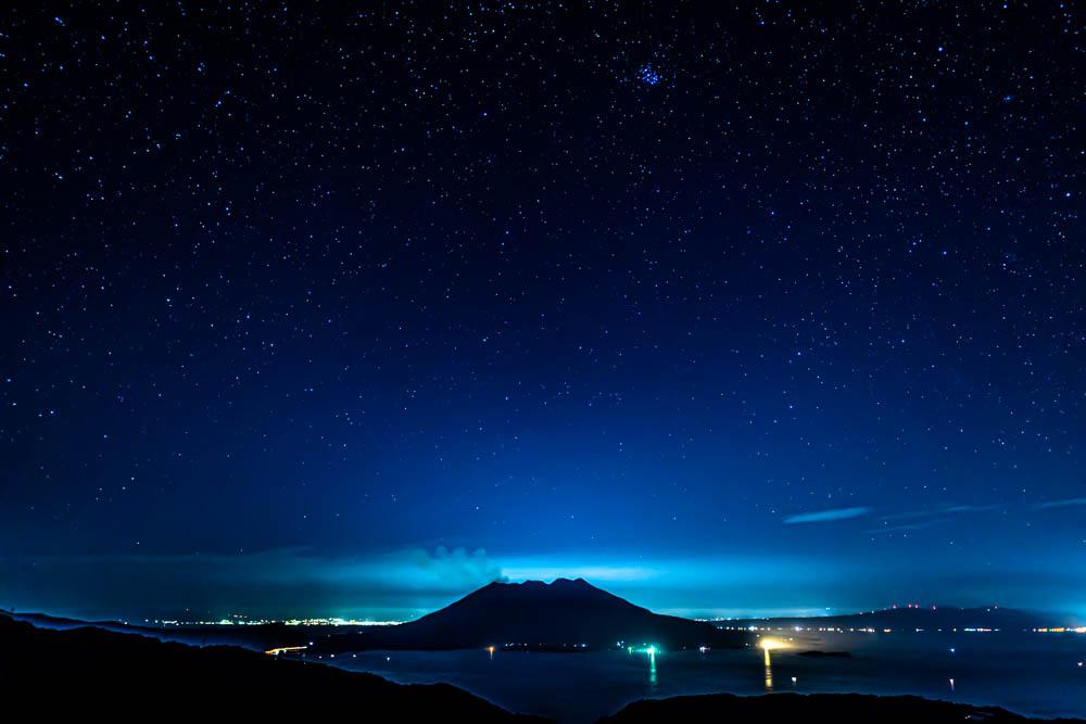 輝北うわば公園から見る星空と桜島
