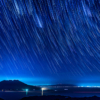 星の軌跡と桜島